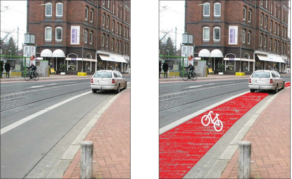 Radweg vor Lindener Rathaus mit und ohne Rotfärbung.jpg
